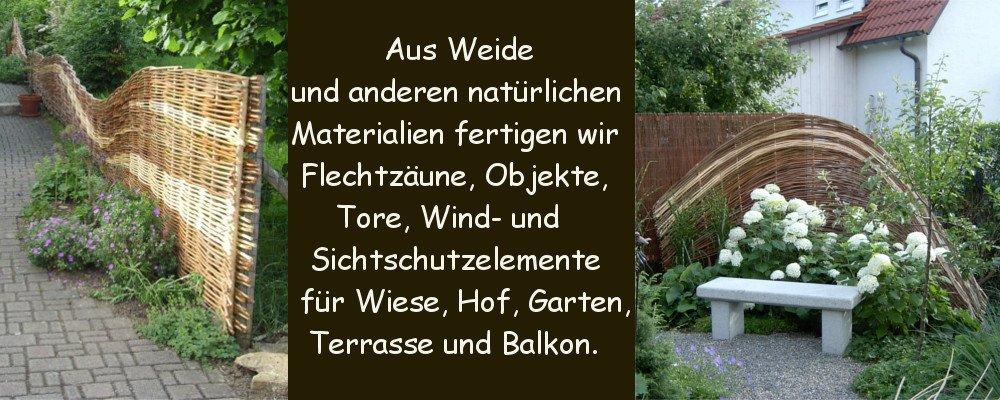 Weidenzaun und dekoratives Weidenflechtwerk